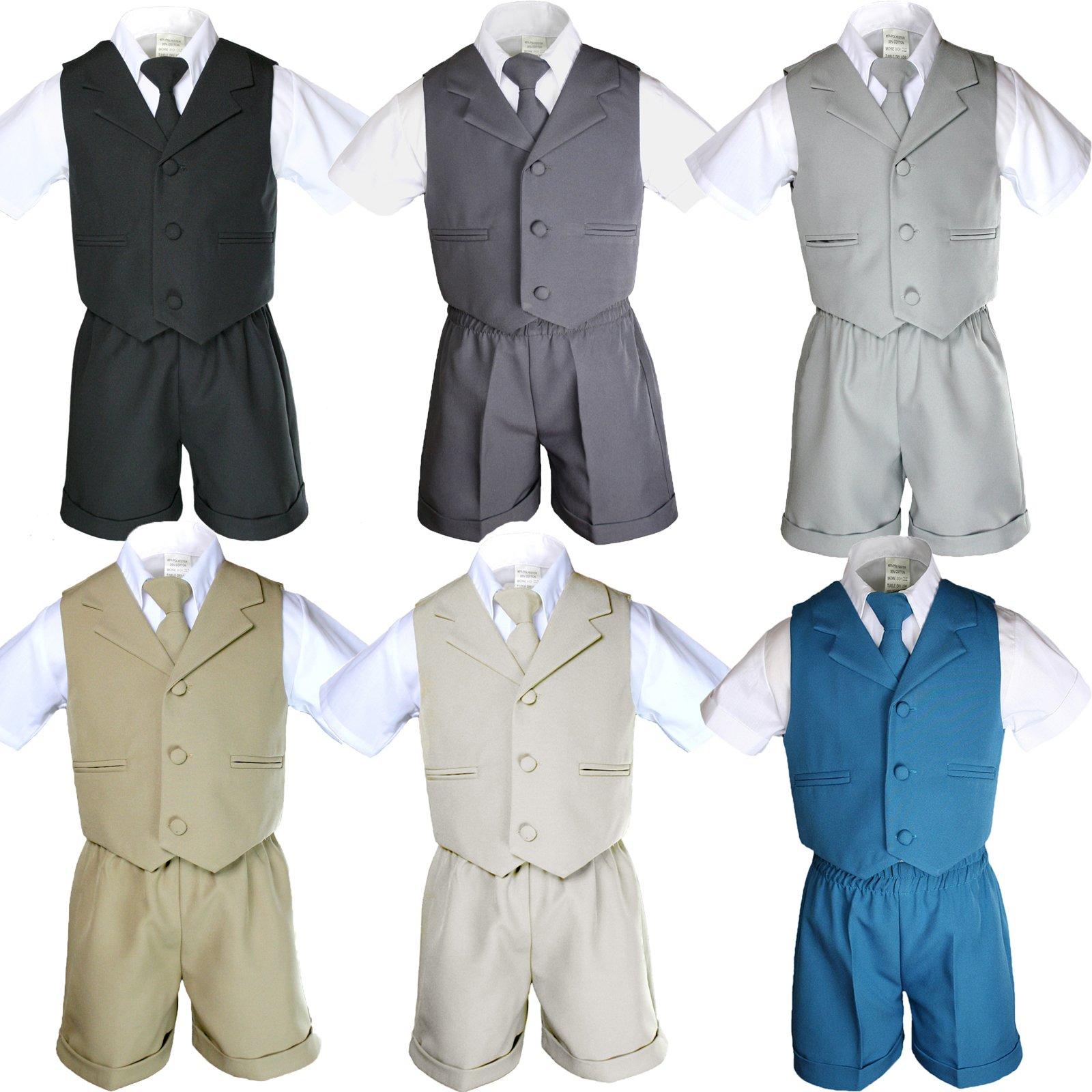 4pc Boy Infant Baby Formal Party Wedding Eton Vest Shorts Suit set Size Sm-4T (3T, Khaki)