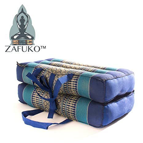 Zafuko Yoga, Meditation, Kundalini and Pilates FOLDABLE Cushion (Zafu) for on-the-go wide long block, bolster, floor pillow, prop - 100% organic Kapok ...