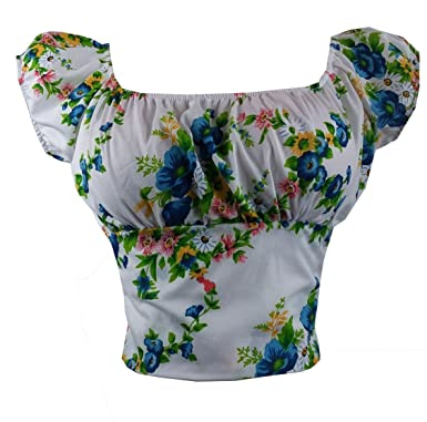 Annette Zilverberg Usa Sexy White Purple Floral Fitted Peasant Top