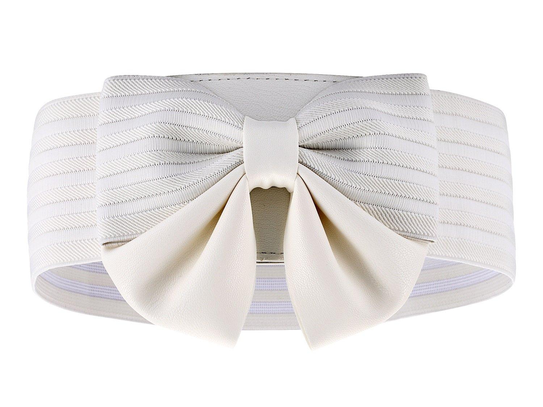 Motase Women Elastic Belt Wide Belt With Bow Knot White M