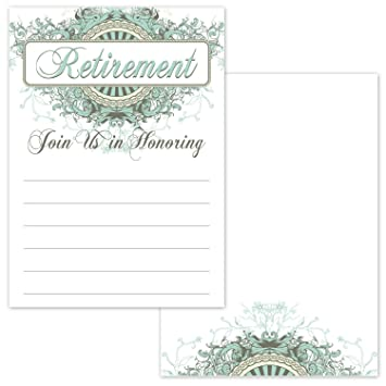 Amazon Com Elegant Fancy Retirement Party Invitations 20