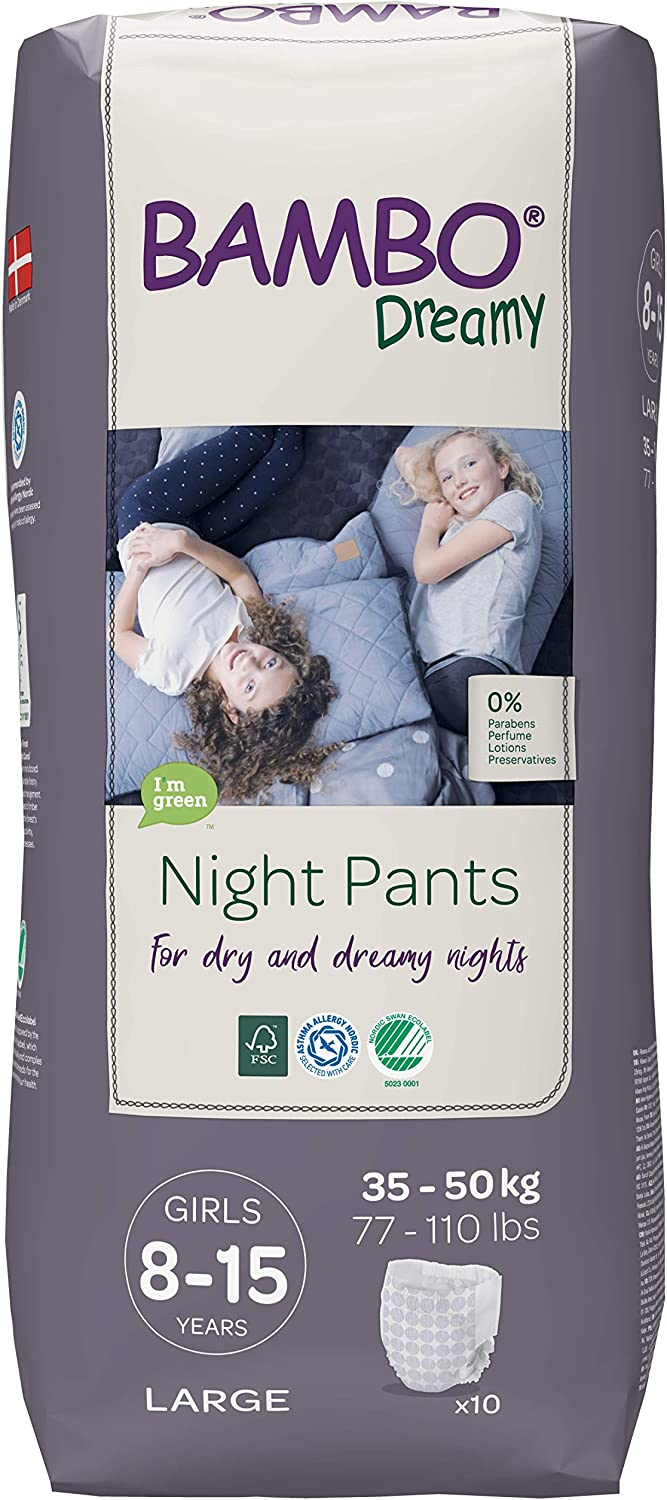 Case Saver 6 x Pack of 10 Bambo Nature Dreamy Girl Premium Night Pants 77-110 lb//35-50 kg Aged 8-15 Size Large