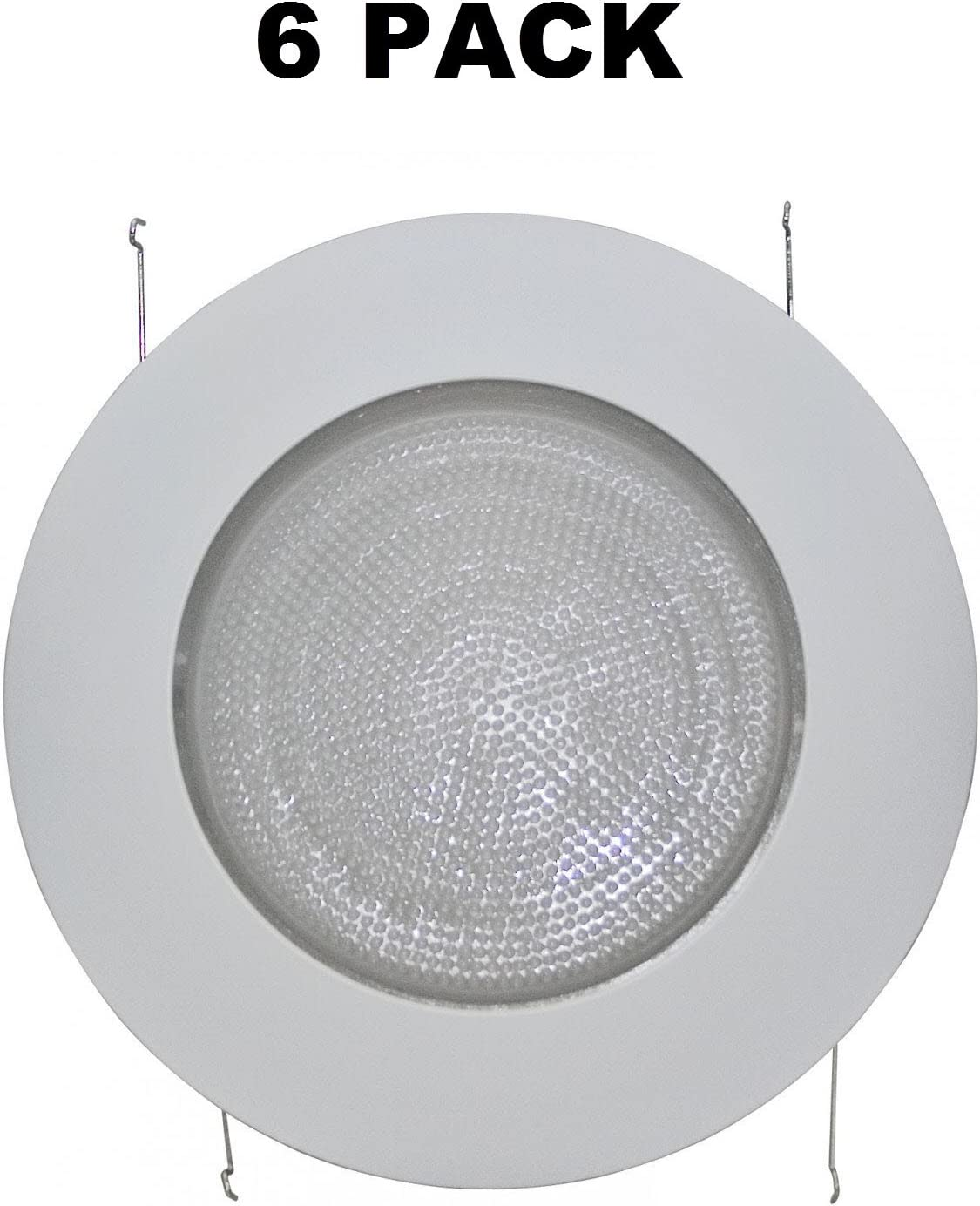 """6/"""" INCH RECESSED CAN LIGHT SHOWER TRIM FROSTED GLASS ALBALITE LENS WHITE"""
