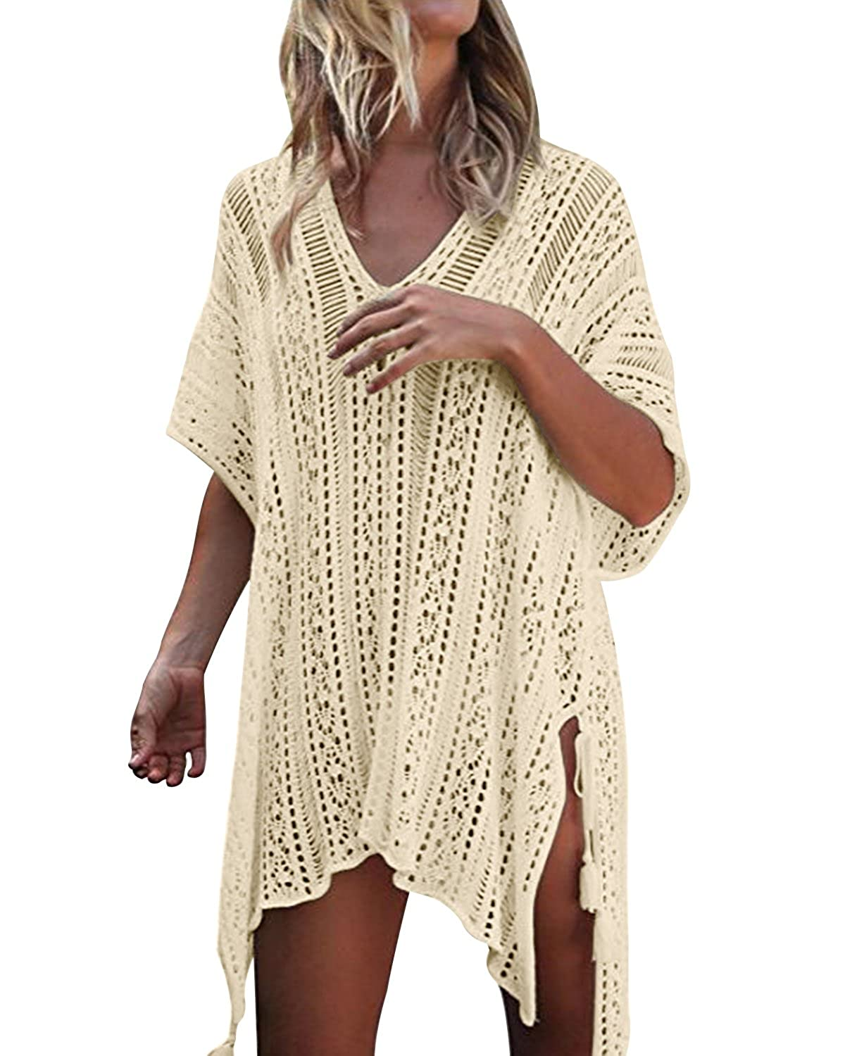 427492da42ce9 Kenoce Women Beach Coverups Hollow Out Swimsuit Oversized 3 4 Bathing Short  Sleeve V Neck Loose Knit Summer Bikini Swimwear Crochet Dress Tassel  Beachwear