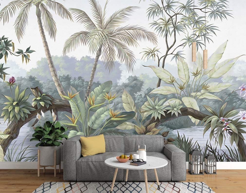 Murwall Forest Wallpaper Retro Jungle Wall Mural Lake Landscape Wall Print Nostalgic Home Decor Tropical Cafe Design Entryway