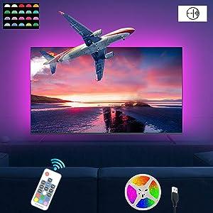 STVONO 6.56ft TV Backlight Kit, TV Bias Lighting for 40-50 inch TV, TV Led Backlight, RGB Color LED Strip Lights with Remote(RF Remote) for Room Decor
