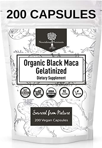 USDA Organic Vegan Gelatinized Black Maca Root- 3,000mg 3x concentrate per Serve-200 Vegan Capsules-Pure Peruvian Extract Powder Pills-Women Men Supplement- Increase energy