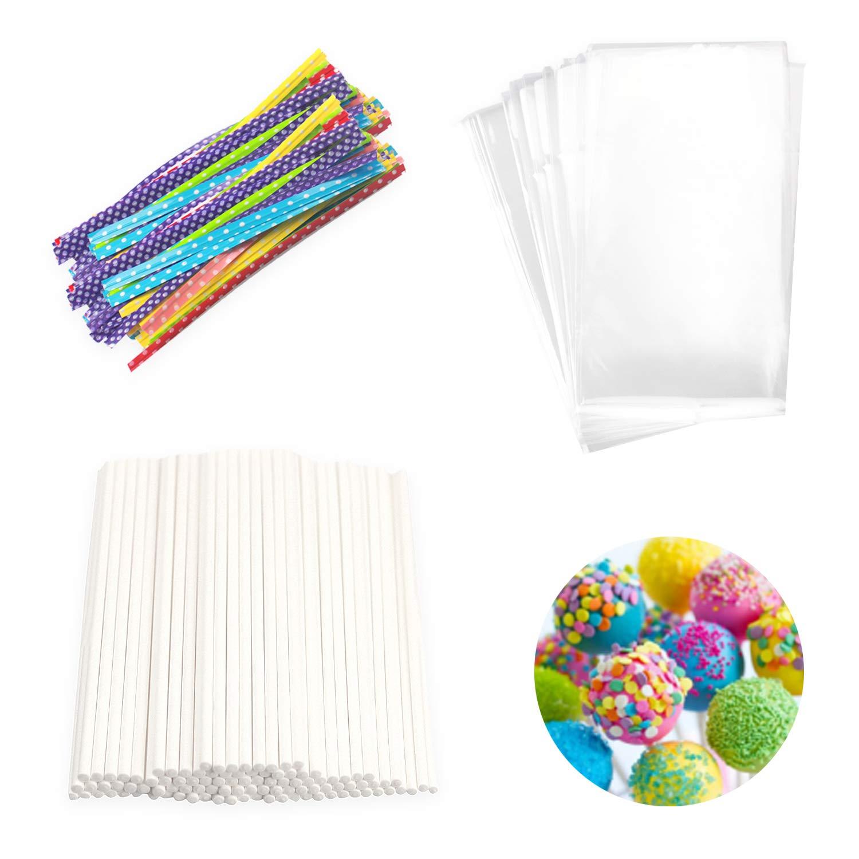 Lollipop Cake Pop Treat Bag Set Including 100pcs Parcel Bags, 100pcs Papery Treat Sticks, 100pcs Colorful Metallic Twist Ties for Making Lollipops, Cake Pops, Candies, Chocolates and Cookies