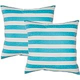 2 Fodere per cuscino Avanzza, 50 x 50 cm in turchese, per cuscino di sofà e decorativi, linea Decor Chic