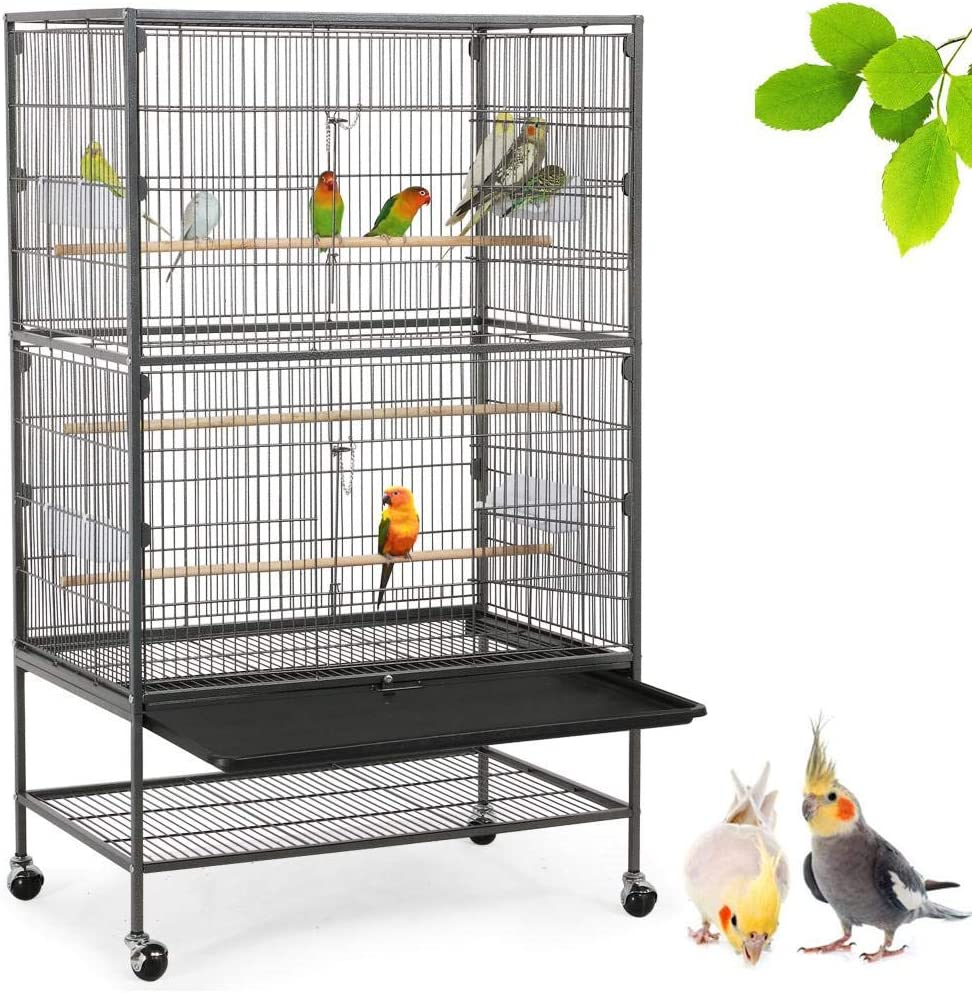 Yaheetech 52-inch Wrought Iron Standing Large Flight King Bird Cage