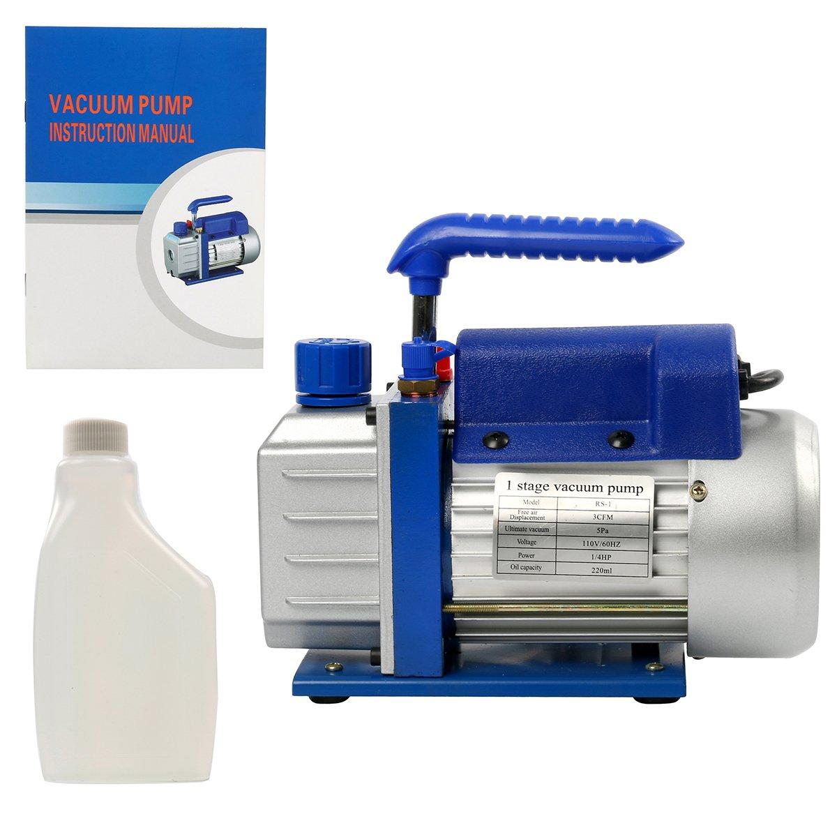 YaeTek 1/4HP 3 CFM Vacuum Pump - 110V Single Stage 3CFM Rotary Vane Vacuum Pump Refrigerant Air Conditioning Yaemart Corporation