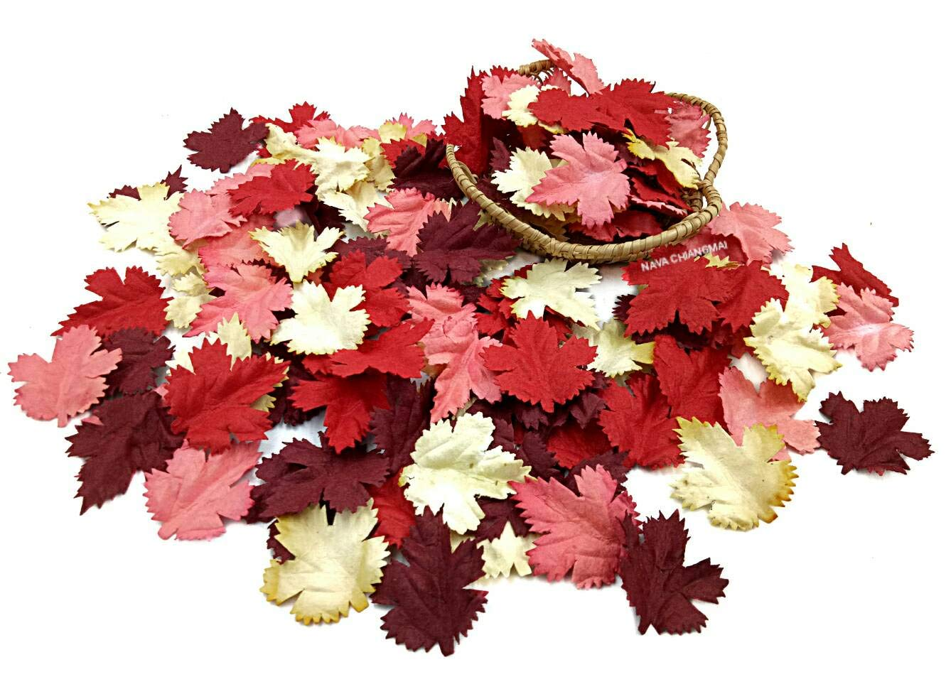 NAVA CHIANGMAI 100 pcs Mulberry Paper Maple Leaves Artificial Leaves Craft Leaves for Scrapbooking Wedding Doll House Supplies Card (Brown Tone)
