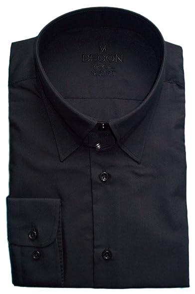 Hemd Langarm TAB-Kragen, Slim-Fit, Knopfman., schwarz
