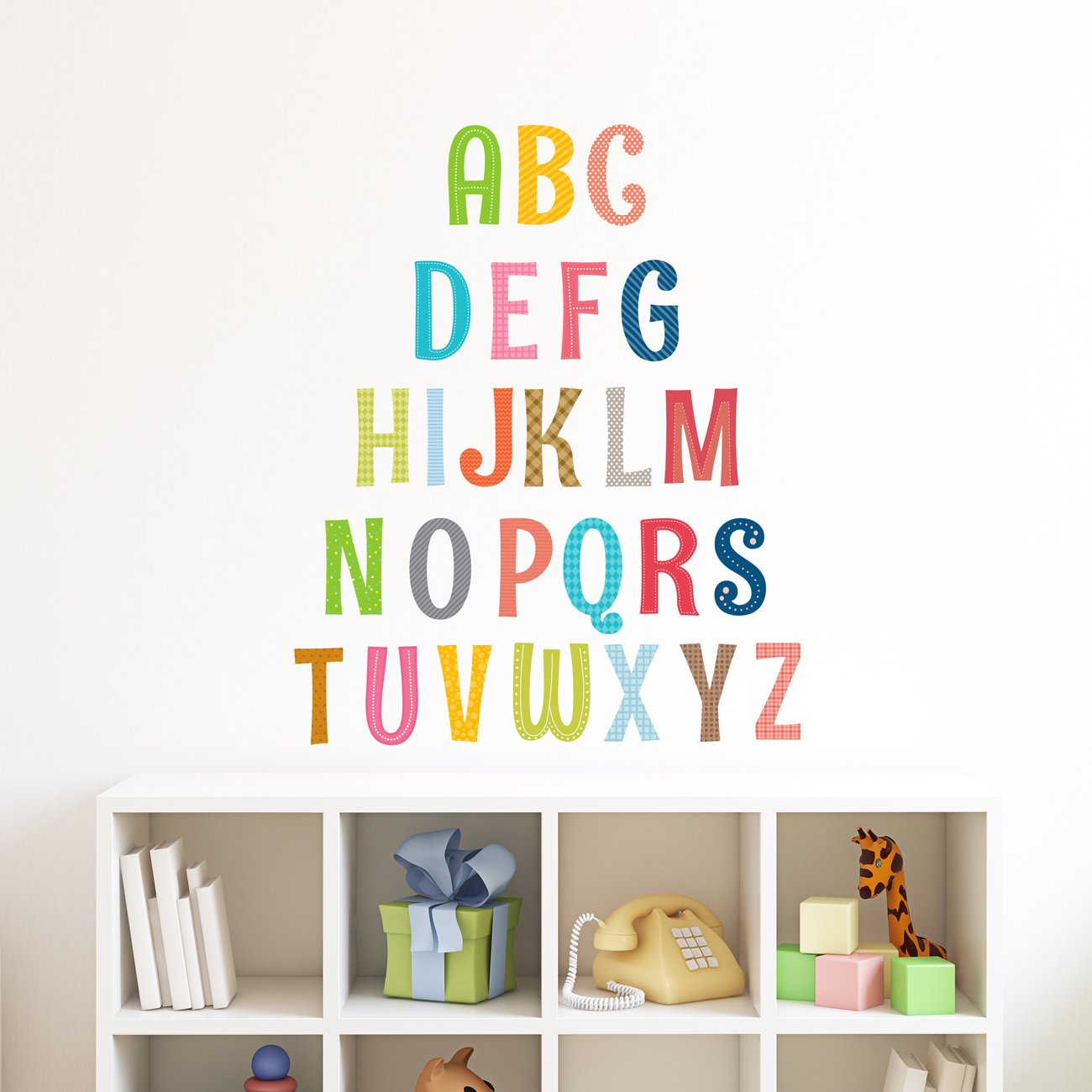Decowall DS-8023 Alphabet ABC with Pictures Kids Wall Stickers Wall Decals Peel and Stick Removable Wall Stickers for Kids Nursery Bedroom Living Room (Small)