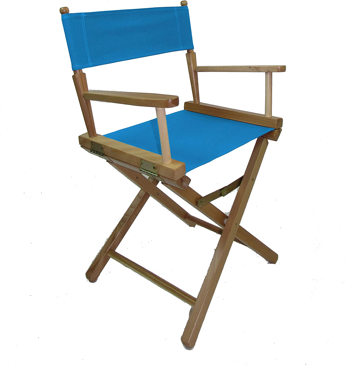 Gold Medal Contemporary 18 Table Height Natural Frame Directors Chair with Sunbrella Cover Set Aruba