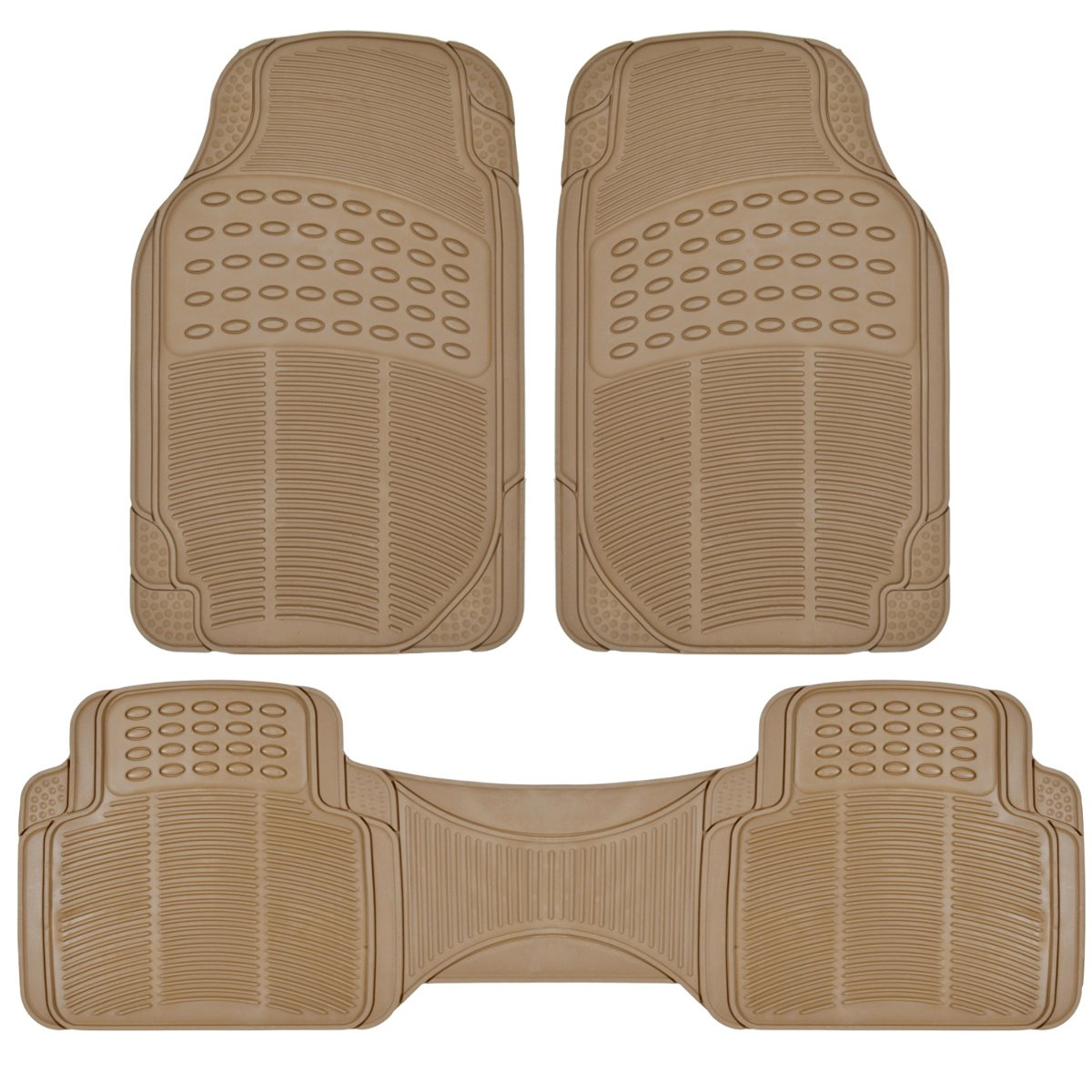 BDK Front and Back ProLiner Heavy Duty Rubber Floor Mats for Auto, 3 Piece Set - Tan Beige