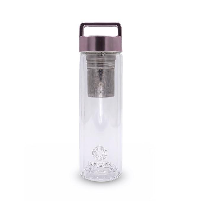 Botella de Té Tetera de vidrio Tetera para llevar Tetera de doble pared con colador Botella de Té 2 Go Design Detox Bpa-free by Luxamel (Oro Rosa): ...