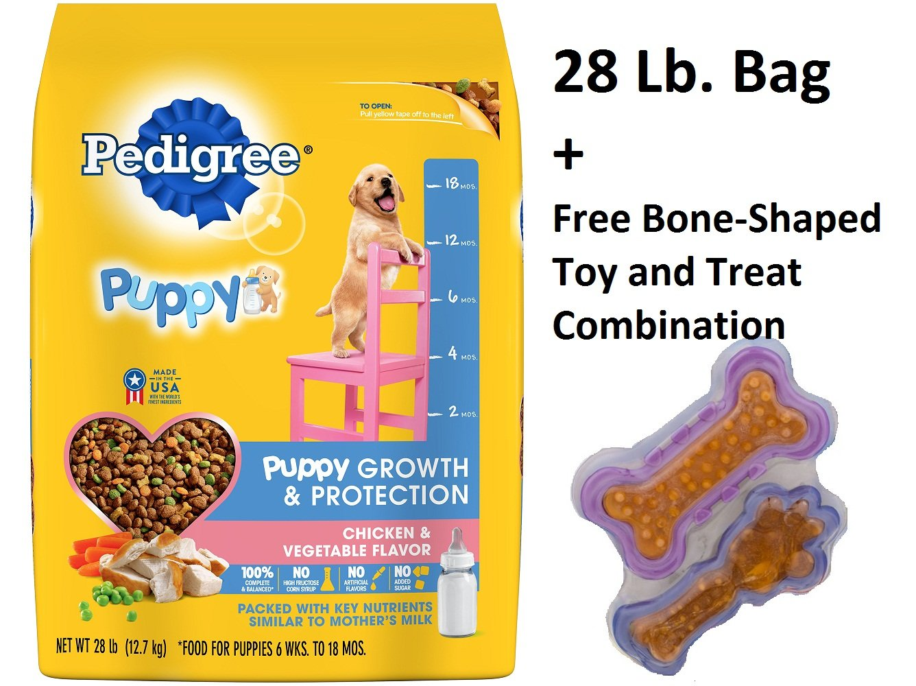 PEDIGREE Puppy Growth & Protection Chicken & Vegetable Flavor Dry Dog Food 28 Pounds (4 Pack + Free Toy) by Pedigree (Image #1)