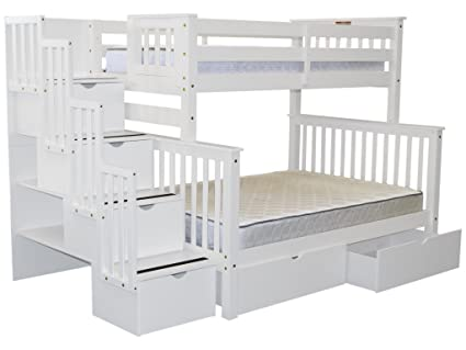Beau Bedz King Stairway Bunk Beds Twin Over Full With 4 Drawers In The Steps And  2