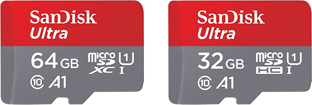 SanDisk 64GB and 32GB Ultra microSD UHS-I Memory Card with Adapter Bundle
