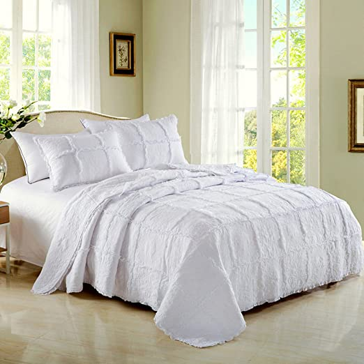 Aivedo 100/% Cotton White Rose Garland Quilt Set 3 Piece Bedding Set,Bedspread Set,Comforter Set-Queen Size