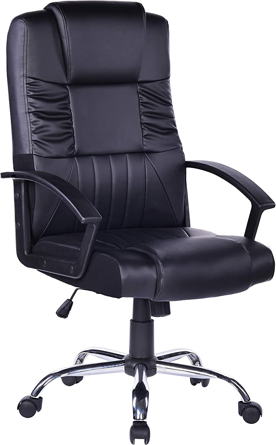 Bosmiller Home Office Chair High Back Adjustable Managerial Home Desk Chair,Swivel Computer PU Leather Chair with Lumbar Support (Black) (411Black)