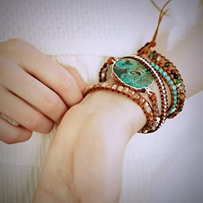 Handmade Azure Gilded Stone Beaded Wrap Bracelet | Huge Turquoise Jasper Stone Bracelet | Gold Turquoise Wrap | Natural Stones Leather Wrap Bracelet | Summer Bracelet