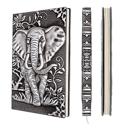 BSTKEY Agenda Diario Cuaderno Libreta Retro A5 de Piel Sintética con Relieve en 3D, Páginas Forradas de Estilo Vintage Plata Elefante