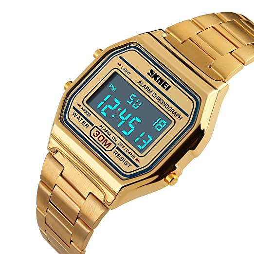 3903a8c3a Gosasa Women's Men's Casual Classic Square LED Back Light Daily Alarm  Digital Bracelet Watch with Stainless