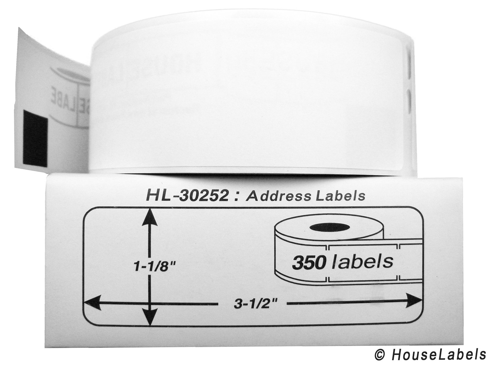 200 Rolls; 350 Labels per Roll of DYMO-Compatible 30252 Address Labels (1-1/8'' x 3-1/2'') -- BPA Free!