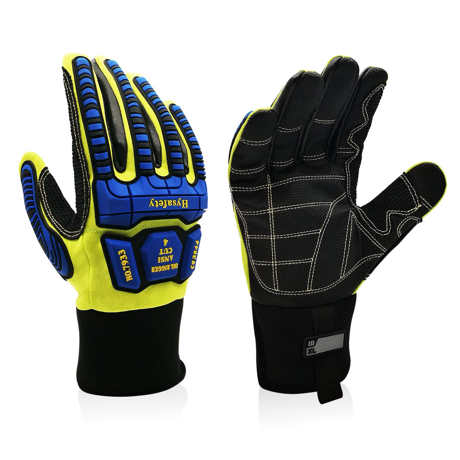 Intra-FIT Impact Oil & Gas Resistant Glove Oil and Gas/Oilfield Safety Gloves TPR knuckle and finger protection EN1621-1