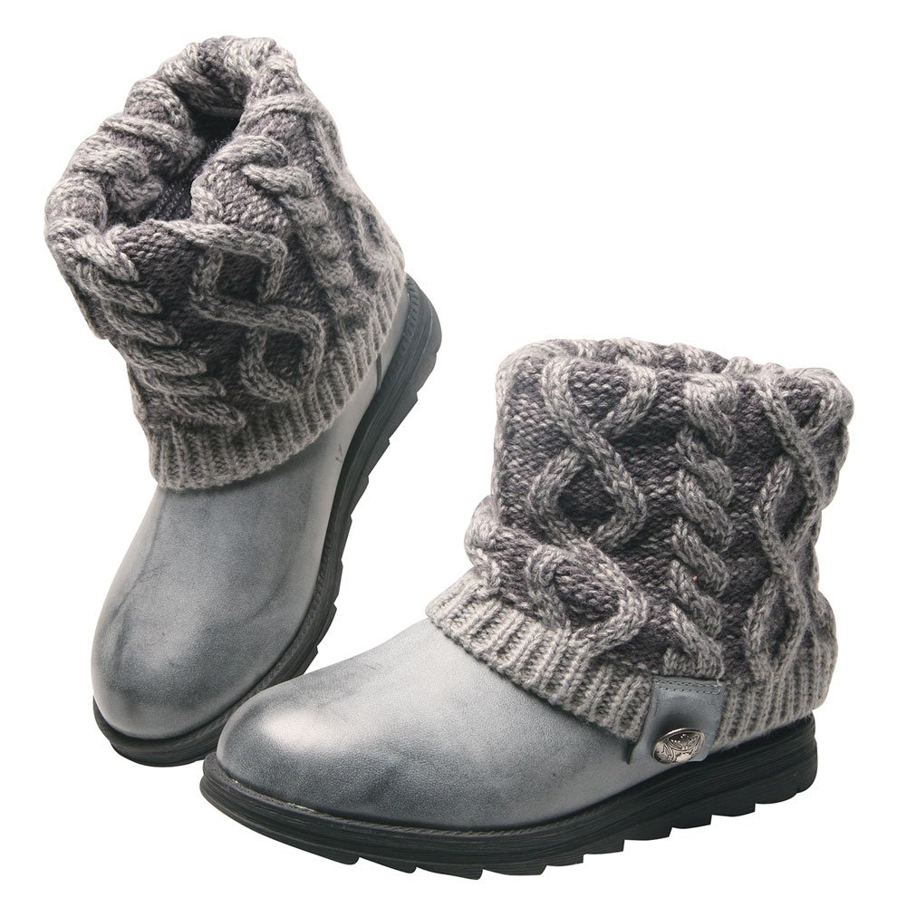 MUK LUKS Women's Patti Cable Boot, Grey, 6 M US