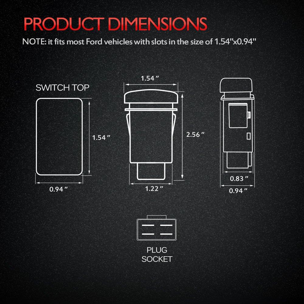 MICTUNING Schalter Wippschalter mit Stecker Kabelsatz -Blau: Amazon ...