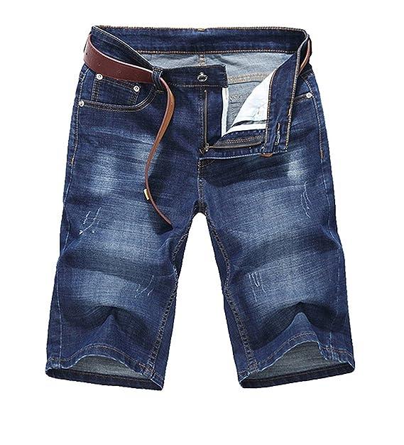 Nube Estilo para Hombre Fashion Verano Pantalones Vaqueros Pantalones Cortos hasta la Rodilla Denim Casual Pantalones Cortos