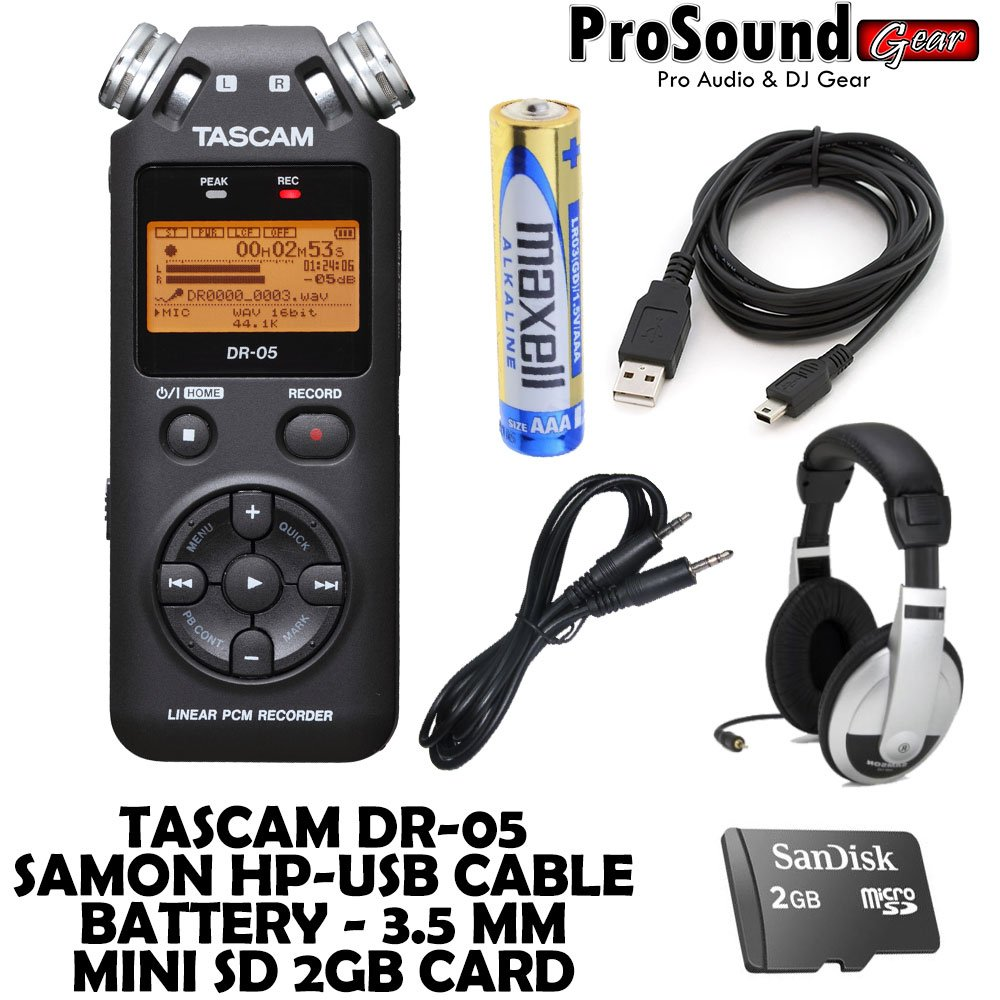 TASCAM DR-05 Portable Digital Recorder - FREE, Samson HP, USB and 3.5mm cables, 2gb SD Card, AAA battery (ProSoundGear) Authorized Dealer