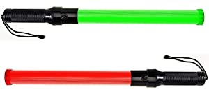 Lot of Two (2) pieces: Traffic Safety Baton Light, 21.5 inch length, Each baton contains 6 Red LED plus 6 Green LED.with 3 Flashing modes (Red blinking, Red steady-glow, Green steady-glow)