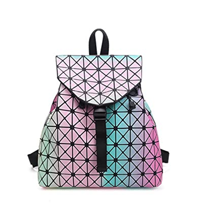 BeautyWJY Hologram School Bag Causal Backpack PU Leather Bag Daypack for Girls