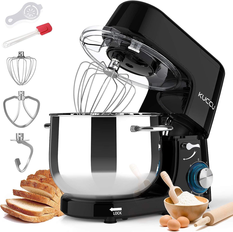 Kuccu Stand Mixer, 8.5 Qt 660W, 6-Speed Tilt-Head Food Dough Mixer, Electric Kitchen Mixer with Dough Hook, Flat Beater & Wire Whisk, Mixing Bowl (8.5-QT, Black)