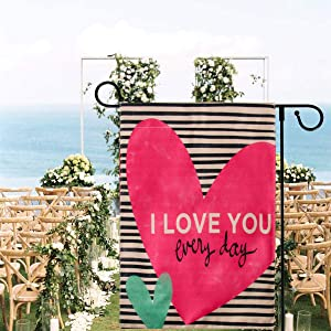 FirstCos Garden Flag 12 x 18 inch Pink Love Heart I Love You Every Day,Double Sized Weatherproof Valentine's Day Burlap Yard Outdoor Decoration (with Flag Stopper and Clip)