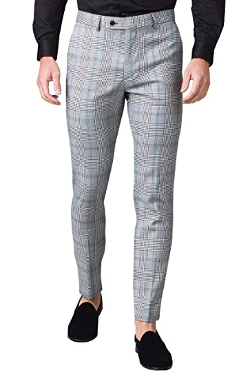 Avail London Mens Black and White Suit Pants Slim Fit Prince