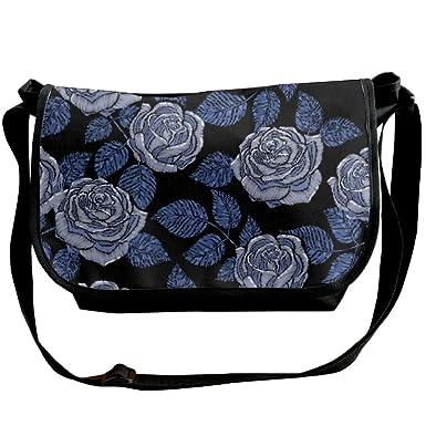 00fba09e2d Amazon.com  Embroidery Peony Unisex Messenger Bag One Shoulder Bag Fashion  Travel Handbag  Clothing