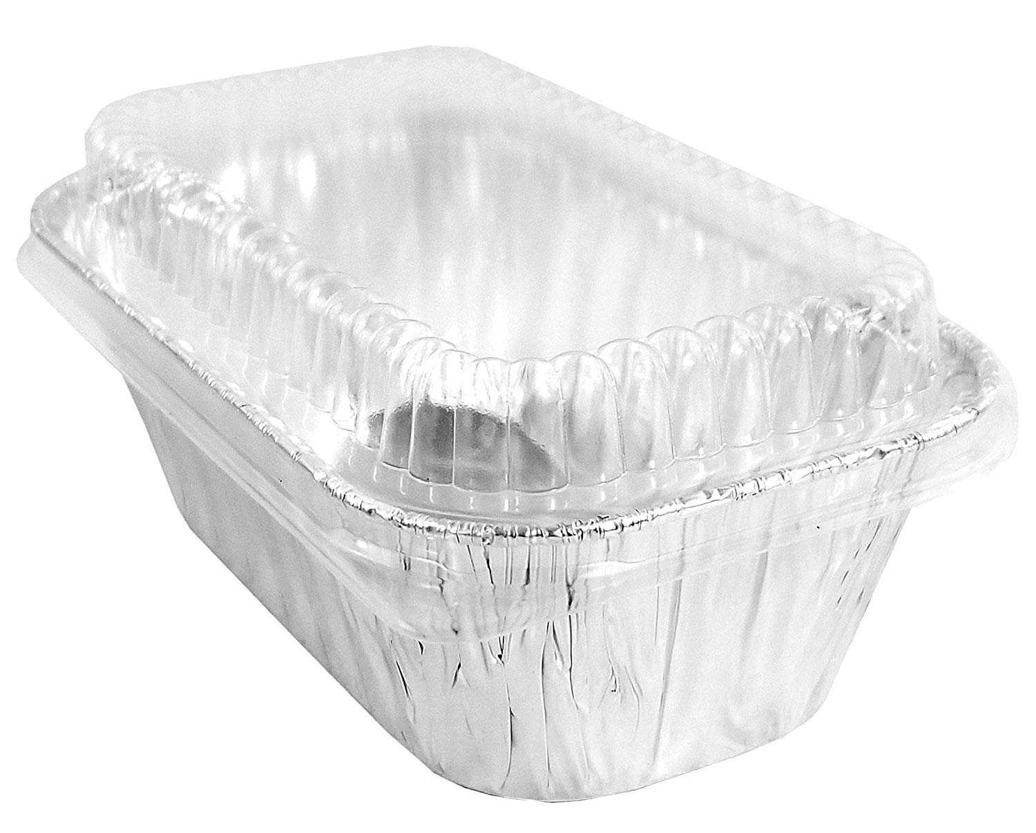 Handi-Foil 1 lb. Aluminum Foil Small Mini-Loaf Bread Pan w/Clear Dome Lid (Pack of 6 Sets)
