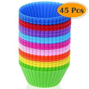 Silicone Cupcake Liners, Selizo 45 Pcs Reusable Silicone Baking Cups Nonstick Muffin Molds for Cake Balls, Muffins, Cupcakes and Candies, Assorted Bright Colors