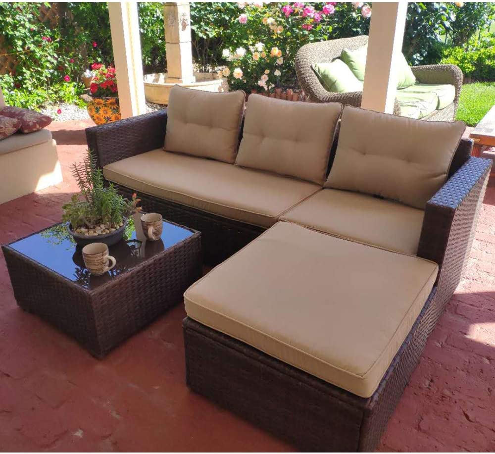 SUNSITT Outdoor Sectional Sofa 4 Piece Furniture Set All Weather Brown Wicker with Beige Seat Cushions, Ottoman Glass Coffee Table Patio, Backyard, Pool Steel Frame