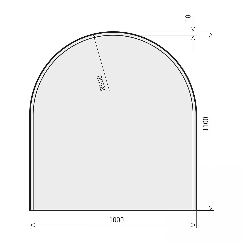 Raik B40011 Kamin Glasplatte Zunge 3 inkl. Facette
