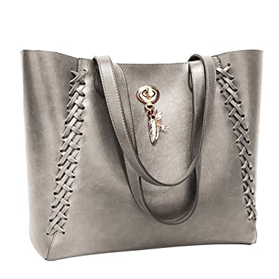 be61d0b685124 Amazon.com  Womens Hobo Bag Durable Leather Tote Messenger Bag Shoulder  Handbag Crossbody Bags for Ladies (Gray Tote)  Shoes