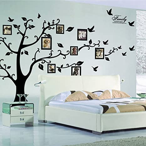 Pegatinas de pared Lisdripe, pvc, negro, Family Tree Photo Fames