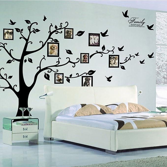 Pegatinas de pared Lisdripe, pvc, negro, Family Tree Photo Fames
