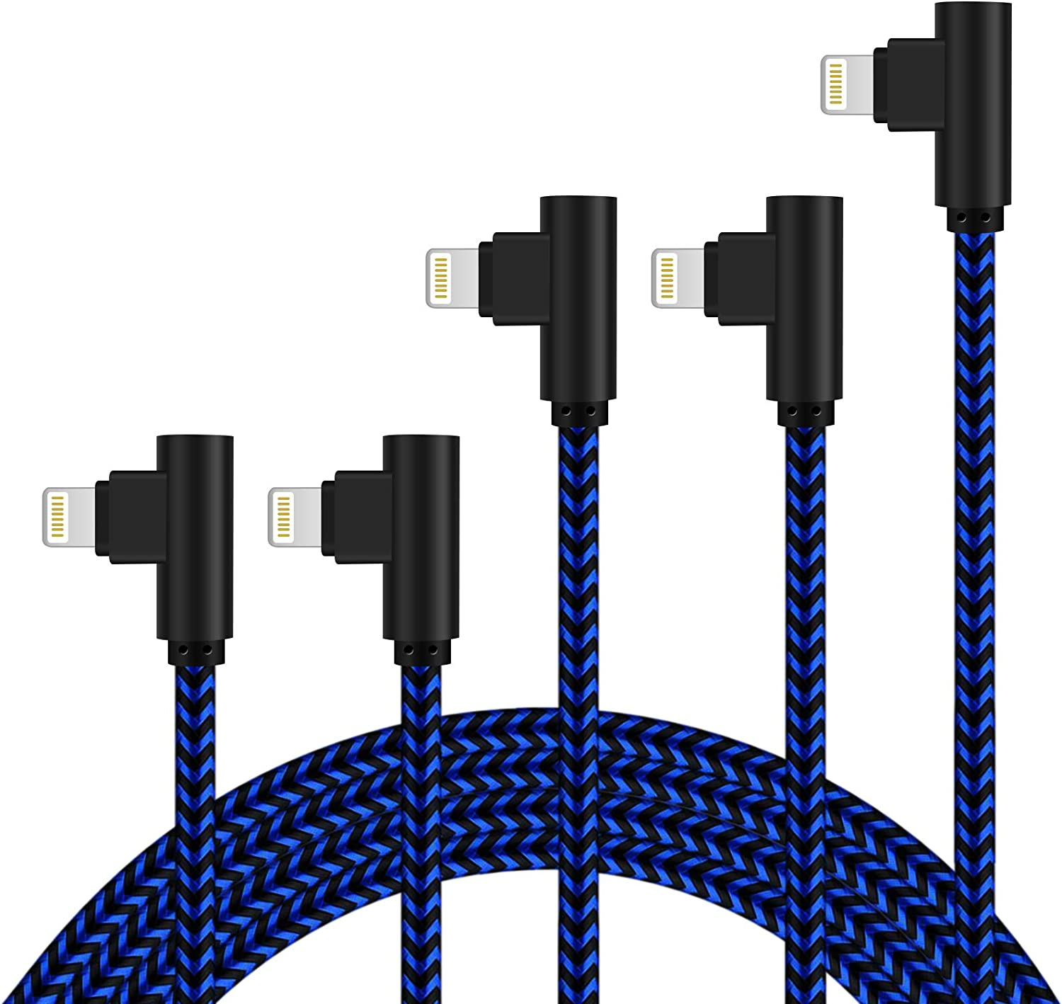 Right Angle iPhone Charger 5Pack 90 Degree Lightning Cable 3FT/6FT/10FT Long Nylon Braided iPhone Data Cable Wire Fast Charging Cord Compatible iPhone/iPad/iPod (Blue Black)