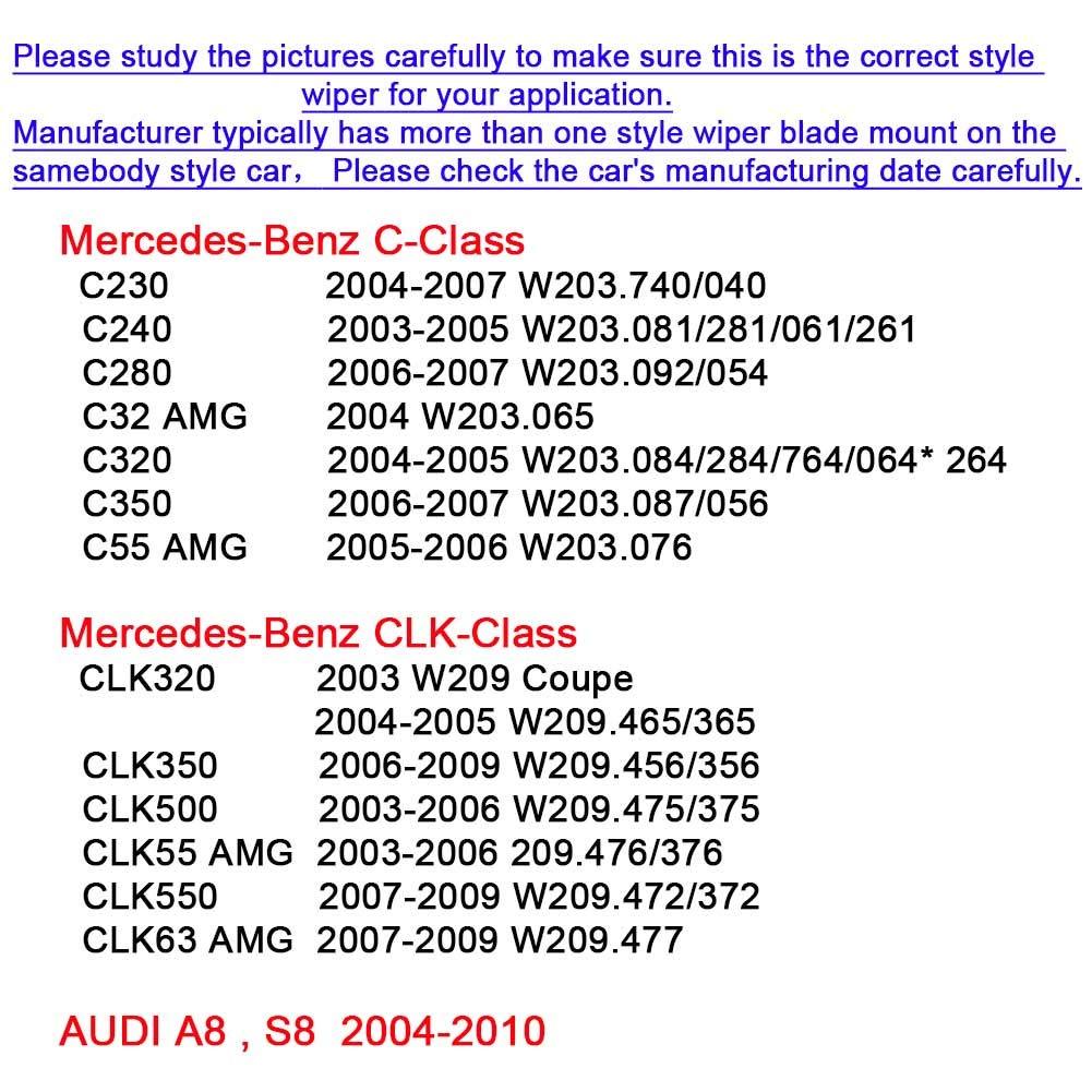 2 wipers Factory for Mercedes-Benz C CLK Class CLK320 CLK500 CLK55 C230  C240 C280 C350 2003-2009 AUDI A8 S8 2004-2010 Original Equipment  Replacement